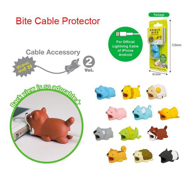Funny Cable Protector pour Iphone cable Winder dog Bite Titulaire du téléphone Accessoire Organisateur Lapin Porc Cat Poupée Modèle animal Jouets