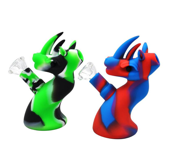 A882 high quality Silicone bongs glass bong with Honey bucket oil rigs Silicone water pipes Colorful Smoking pipe from china supplier