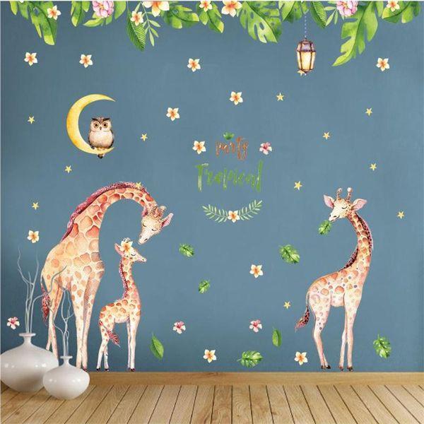 2pcs/set Cartoon Animal Cute Giraffe Owl Wall Sticker For Kids Rooms Home Decor TV Sofa Wall Poster Flowers Leaves PVC Art Mural