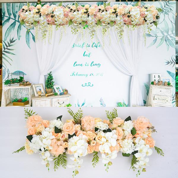 50 cm DIY fleur rangée Acanthosphere Rose Eucalyptus décoration de mariage fleurs rose pivoine hortensia mélange de plantes arche artificielle fleur rangée