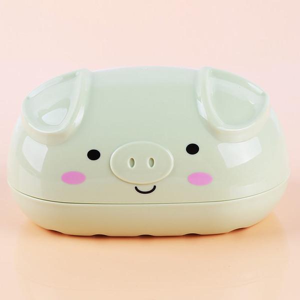 New Creative Cartoon Solid Color Pig Shape Soap Box Bathroom Double Drain Soap Box Plastic Small Dish Plate Bathroom Soap Box ZJ0820