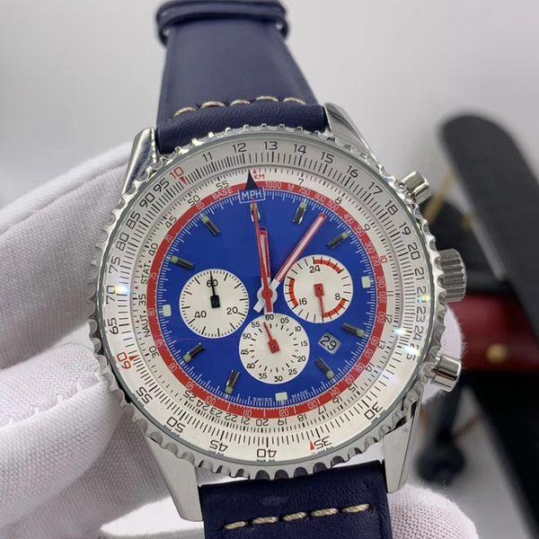 Navitimer 1 Мужские часы Кварцевый хронограф Дата Светящийся синий циферблат 46MM Luminous смотреть Silde Правило Маркеры Наручные часы с секундной руки