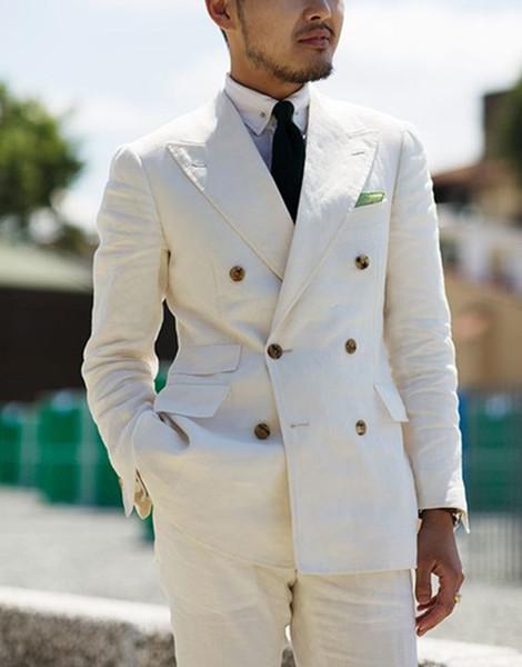 2 Pieces White Double Breasted Solid 2-piece Slim Fit Mens Suit Notch Lapel One Button Tuxedo Jacket Pants Set ( Blazer+pant) C19041601