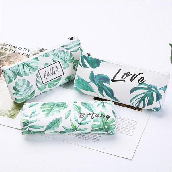Japnese Fresh Leaves Series Pencil Case Office Stationery and School Supplies High Capacity PU Material Pencil Bag 1PCS