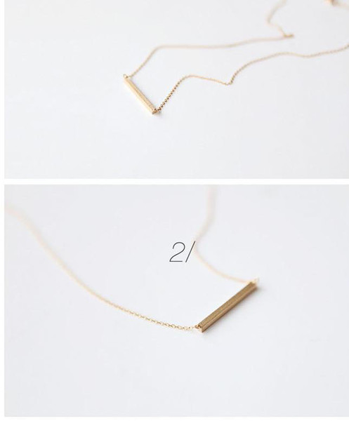 Hot Fashion Jewelry Pendant Necklaces Gold/Silver Tiny Sideways Square The Bar Necklace Simple Stick Modern Minimalist Short Chains KKA6182
