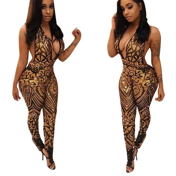 Mujeres Sexy Cuello en v Clubes dorados Trajes de una pieza Negro Negro Slim Fit Halter Mesh See Through Rompers