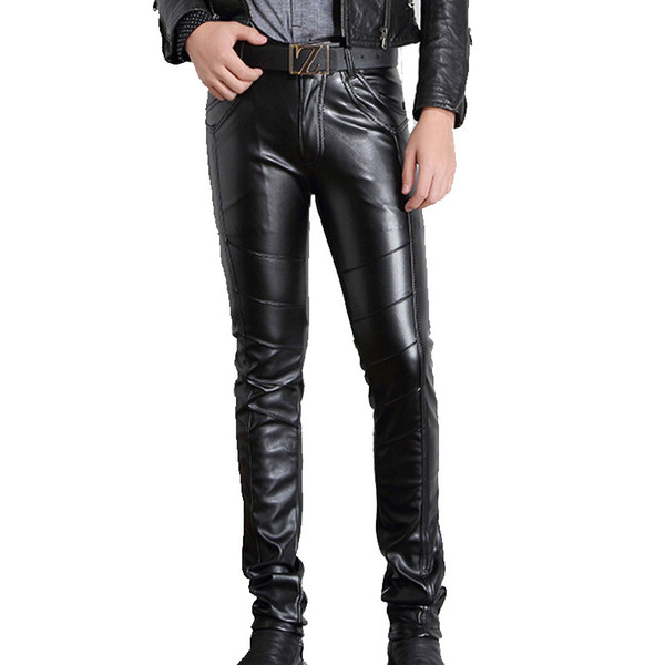 Men PU Leather Pants Skinny Motorcycle Riding Pants Slim Fit Trousers for Men Hip Hop Full Length Pants Size