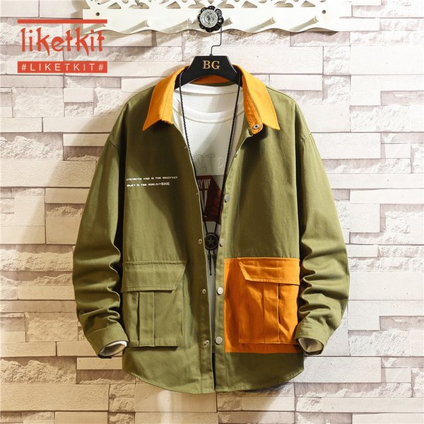 Liketkit Mens Casual Jackets Harajuku Windjacke 2020 Frühlings-Farben-Block-japanischen Streetwear Männer lose Art und Weise Khaki Mäntel 5XL