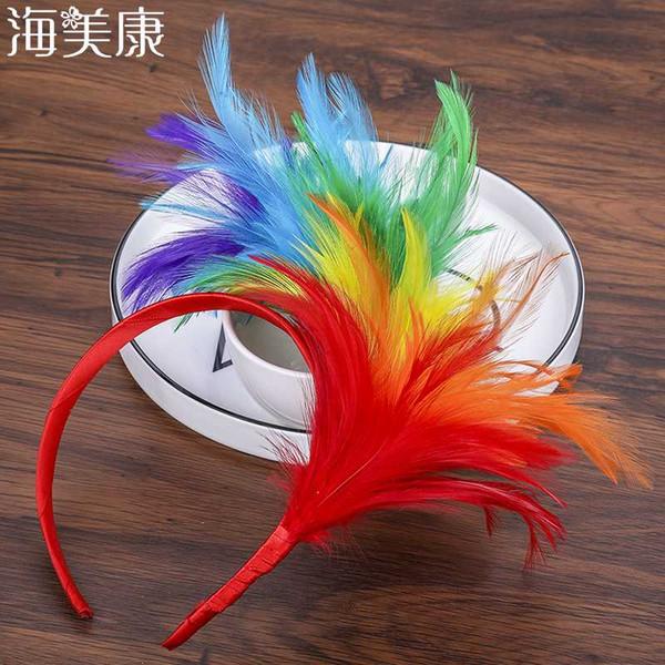 Haimeikang Tüy Hairband Fascinator Sineklik Kafa Mardi Gras Parti Başkanı Dekor Sıcak Cadılar Bayramı Festivali Aksesuarları