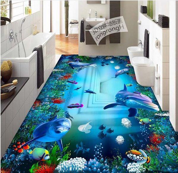 best selling Custom Photo 3D Floor WallpaperOcean World Swirl Living Room Entrance Corridor 3D Flooring PVC Self-adhesive Mural
