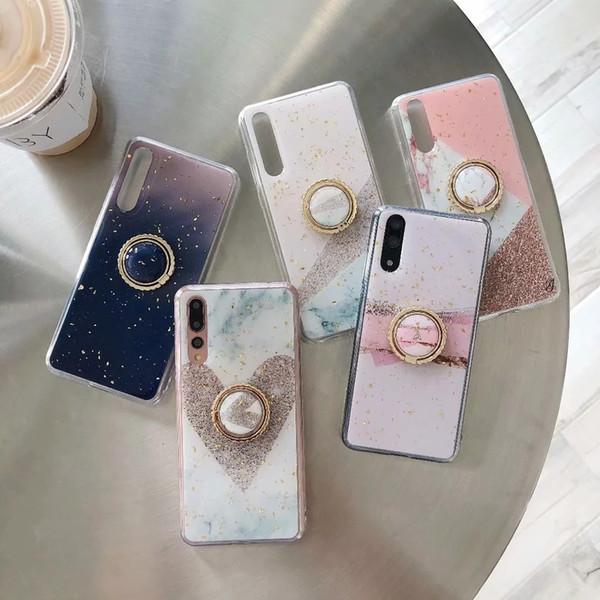 Estuche de papel de confeti de mármol para Iphone XS MAX XR X 8 7 6 360 Dedo Anillo de metal + Lentejuela de lujo con lentejuelas Suave TPU Piedra Rock Flake cubierta