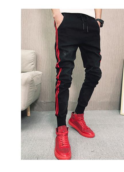 İlkbahar Sonbahar Tasarımcı Disterressed Kot Erkekler Sıska Elastik Bel Kalem Pantolon Genç Hiphop Sokak Kot