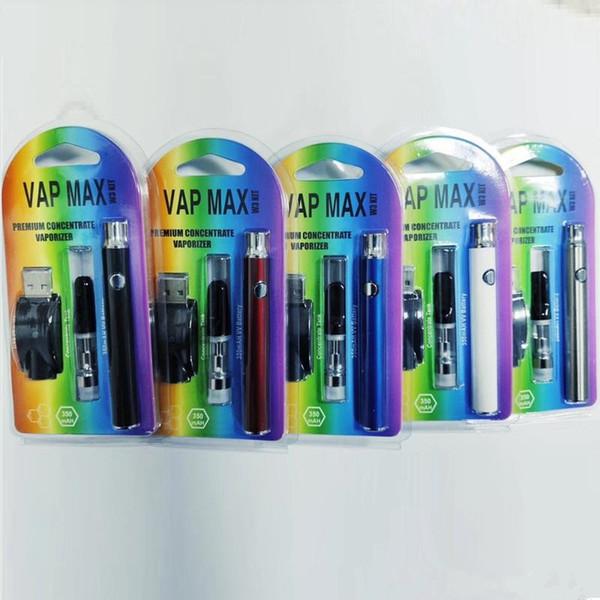 Prim Vap Max Kiti E Sigara Kiti 350 mAh Vertex Ön Isıtma VV Pil 0.5 ml 1.0 ml Kartuş 92a3 USB Şarj Vape Kalem Kitleri