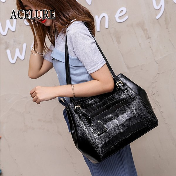 good qualityWomen Solid Color Alligator Shoulder Bag Simple Style Large Casual Totes Female Pu Leather Crossbody Bags Ladies Handbag