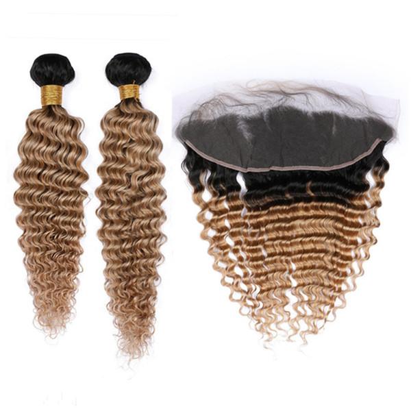 # 1B / 27 Bal Sarışın Ombre Derin Dalga 2 Paketler Malezya Saç ve Frontal Açık Kahverengi Ombre Dalgalı İnsan Saç Dantel Frontal ile Örgü 13x4