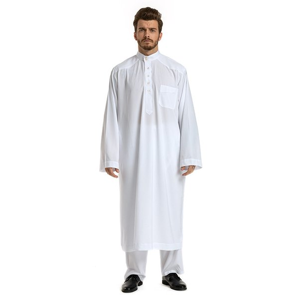 2019 Muslim Men Robe 2 PCS Set Saudi Arab Long Sleeve Thobe Jubba Thobe Kaftan Long Islamic Jubba Man Clothing