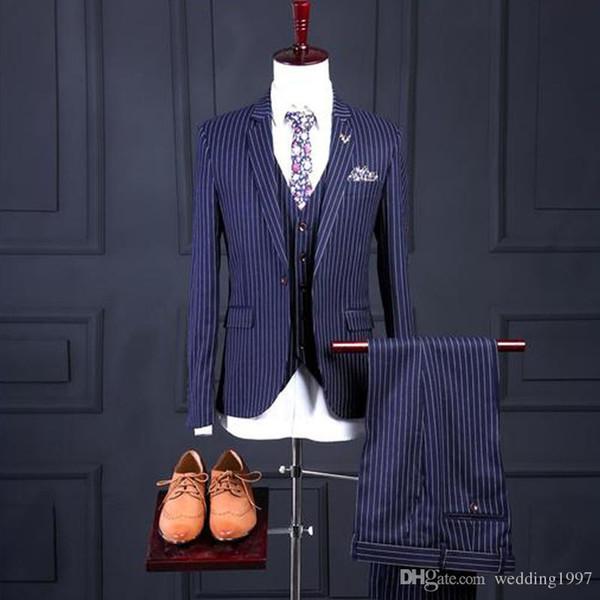 Синий в полоску свадебные мужские костюмы для жениха смокинги из трех частей куртка брюки жилет зубчатый Lape последние жилет блейзер