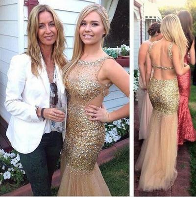Modest Champagne Mermaid Pageant Prom Dresses 2019 Backless With Straps Gold Crystal Rhinestones Beaded Tulle Celebrity Evening Formal Gowns