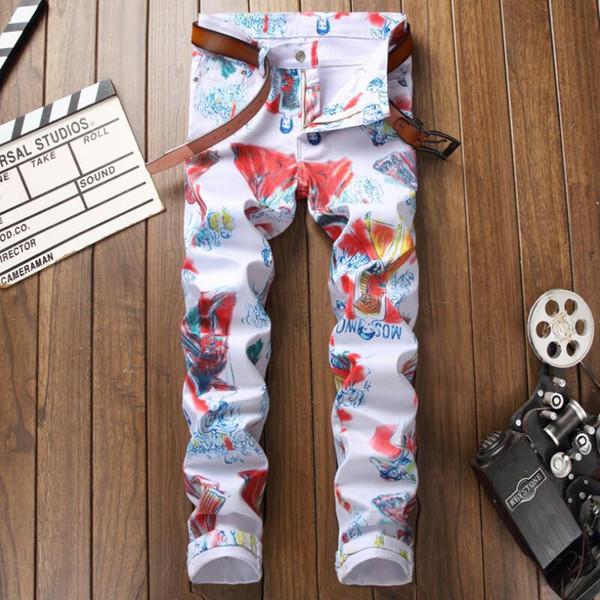 Mens Skinny Jeans Hommes Nouvelle Mode Casual Couleur Imprimé MotoBiker Denim Crayon Pantalon Haute Qualité Coton Cowboy Denim Pantalon