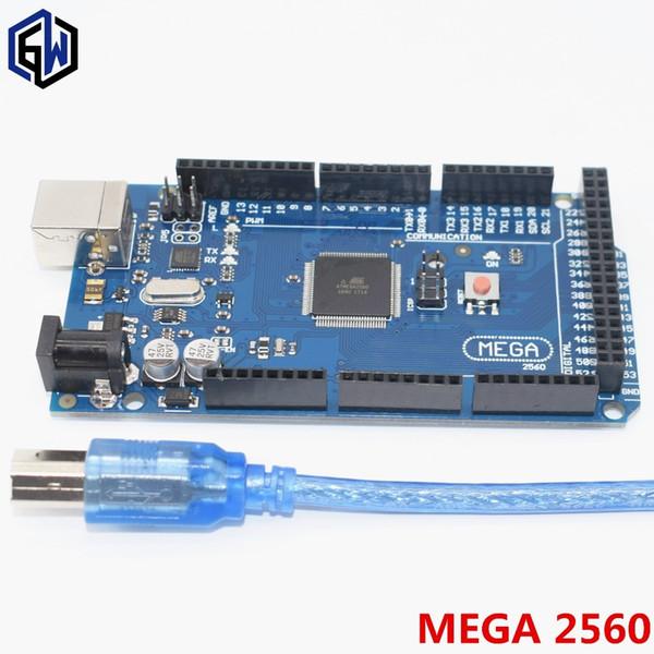 10 adet Mega 2560 R3 Mega2560 REV3 ATmega2560-16AU, ATMEGA16U2-MU Kurulu + USB Kablosu uyumlu 10 takım freeshipping