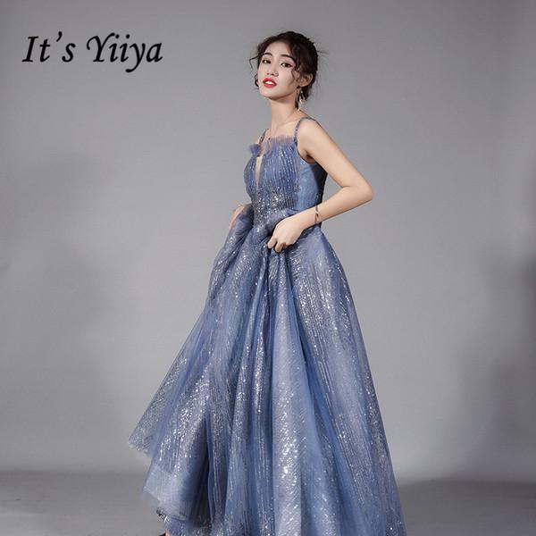 It's Yiiya Evening Dresses Dusty Blue Shiny Glitter Women Party Gown Strapless Spaghetti Strapless Long Vestidos De Fiesta K270