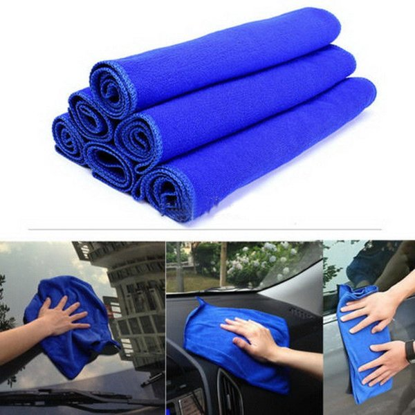 5Pcs Blue Soft Absorbent Wash Cloth Car Auto Care Microfiber Cleaning Towels Car Care Maintenance Cleaning Accessories #809