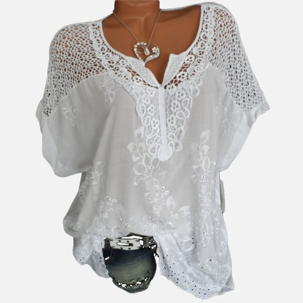 White V-neck Lace Women's Blouse Shirt Plus Size 5xl Crochet Batwing Short Sleeve Embroidery Women Shirts 2019 Summer Loose Top Y19050601