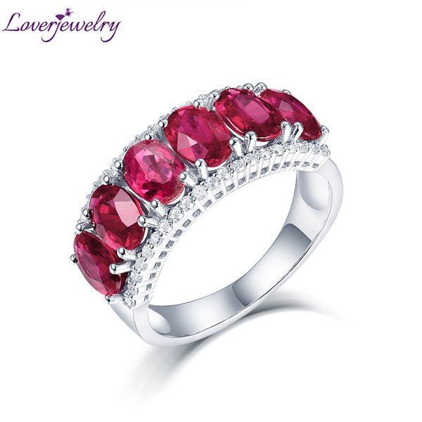 Loverjewelry Genuine Woman Engagement Rings Ruby Jewelry Solid 14k White Gold Natural Diamond Red Ruby Ring Classic Lady Jewelry Y19052301