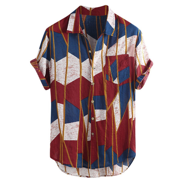 Womail 2019 New Fashion High Quality Summer Mens Multi Color Lump Chest Pocket Short Sleeve Round Hem Loose Shirts Blouse