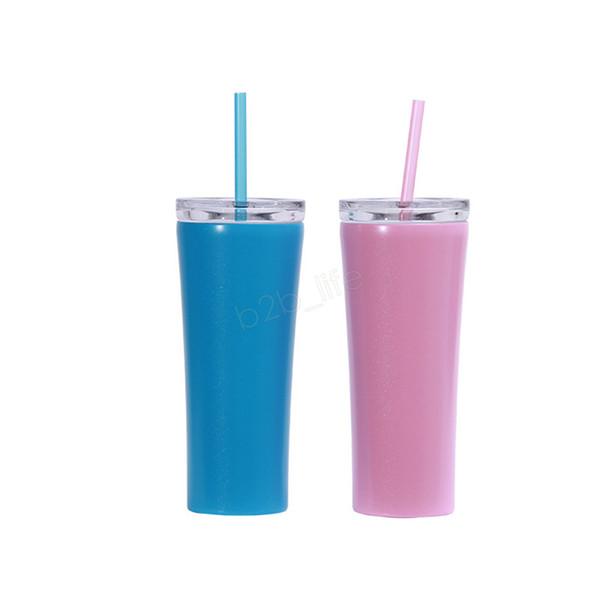 450 ml de aço inoxidável copo reto alto magro Tumbler vácuo isolamento de água caneca de café copos de água com tampa de palha LJJA2780
