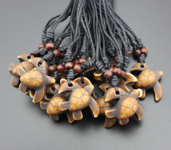Hot Sale Men women's jewelry Wholesale lot 12pcs Lovely Hawaiian Surfing sea Turtles charms Pendants Wood Beads Necklaces Lucky Gifts MN300