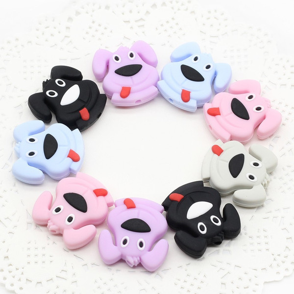 DIY Pacifier Clips Chain Accessories 5PCs Cartoon Cute Mini Naughty Puppy Silicon Beads Baby Safety Grade Silicone Teether