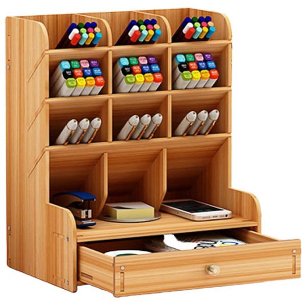 Multifunzionale Supporto di legno di 13 desktop Grid staffa della matita della penna di immagazzinaggio contenitore di matita della penna di trucco di spazzola Jewelry Display Stand
