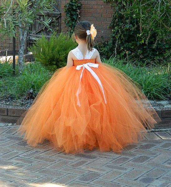 Büyüleyici Turuncu Çiçek Kız Elbise Kız Düğün Bölümü Kız Elbise Nedime Doğum Günü Partisi için Prenses Pageant Balo Elbise YYXKZ49