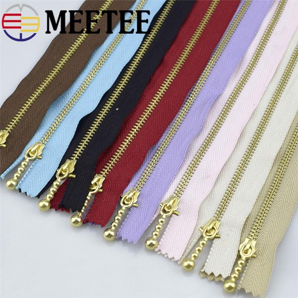 Meetee 3 # Or 20cm Fermeture À Glissière Fermeture Éclair En Métal pour Coudre Réparation Kit Outils Vêtement Bourse Sacs À Main Accessoires A4-16