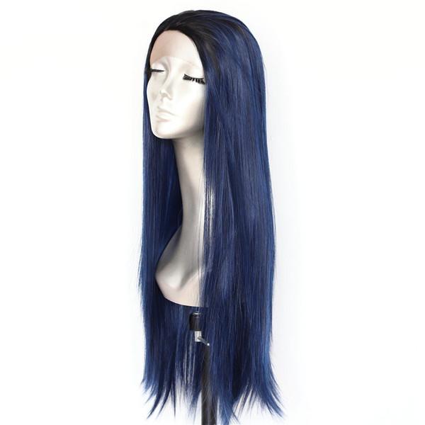 Novo Dia Das Bruxas Ombre Dark Blue Lace Frente Perucas Alta Amarrado 180% Densidade De Seda Em Linha Reta perucas Resistente Ao Calor Glueless Perucas Sintéticas para As Mulheres