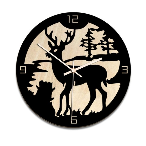 Reloj de pared Nordic Quartz 28Cm Elk Reloj de pared para sala de estar Movimiento silencioso Reloj Diseño moderno