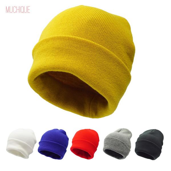 Women Beanie Lady Winter hat for Men ladies Unisex Knitted cuff skully 2018 Beanies Warm Soft Fashion 475001