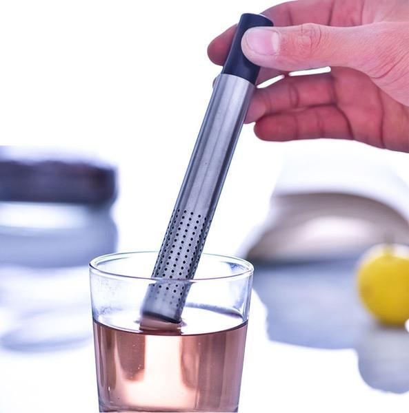 Großhandel 50 stücke Teesieb Stick Edelstahl Rohr Design Mesh Teefilter Tragbare Tee-ei Teaware