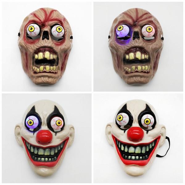 Terror Full Face scary masks halloween Plastic Blast Eyed Monster Jester Vampire 3 Design led Lights Party Mask Costplay 6 8jg E1