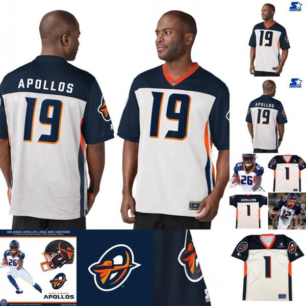 Mens Orlando Apollos Jersey 1 Ben Turk 51 Terence Garvin 59 Earl Okine 77 Chris Martin 93 Leon Orr Alliance of American Football Jerseys