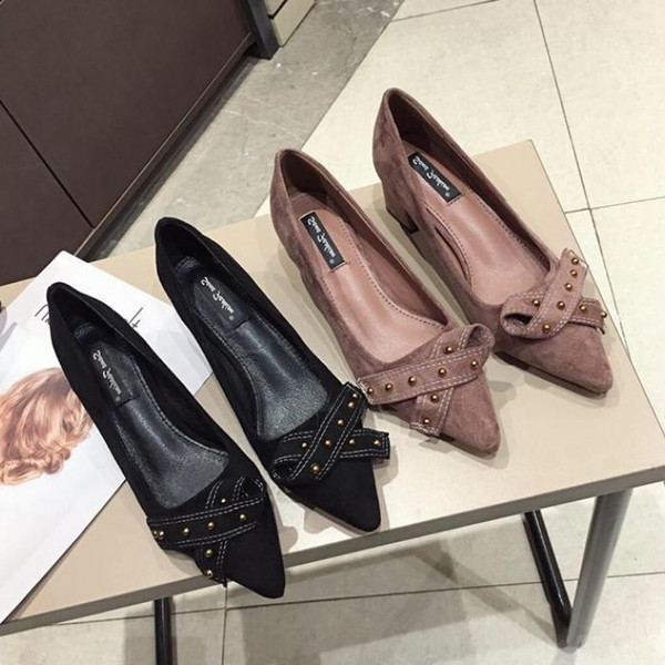 Current2019 Velvet Annual Noodles Sharp Shallow Mouth High-heeled Fine With All-match Thin Women's Single Shoe Style Shoes