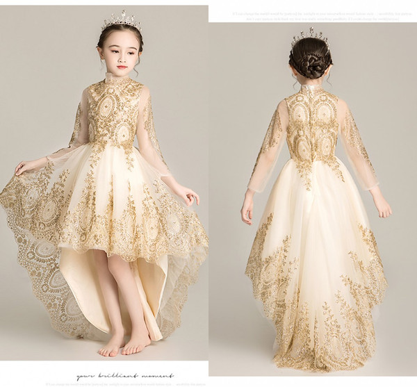 2020 Gold Embellished Flower Girls Dresses For Wedding Party High Neck Hi Low Tulle Long Sleeves Ruched Cheap First Communion Dress