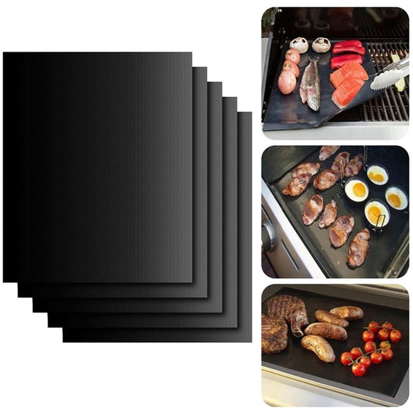 top popular Reusable Non-Stick BBQ Grill Mat 3 Colors 13*15.75inch 33*40cm Durable Gas Grill barbecue mat Picnic Cooking Tool 2021