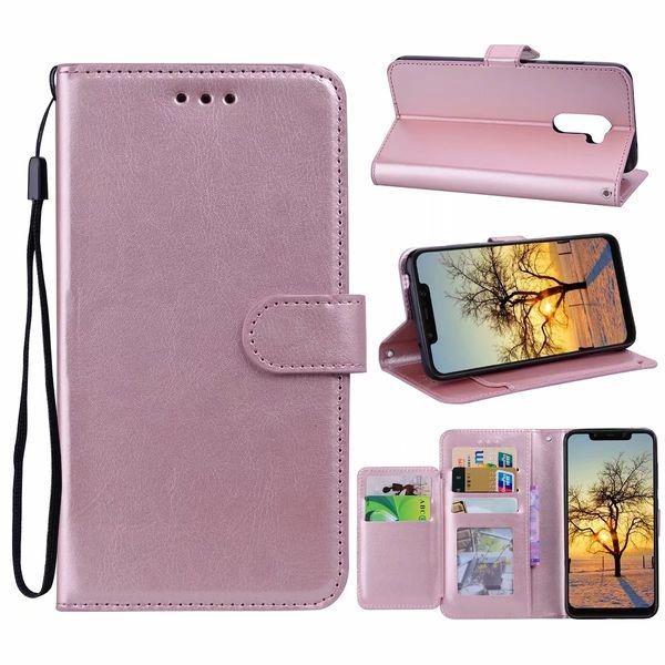 Multifonction Etui portefeuille en cuir pour Xiaomi Pocophone F1 Redmi 6 Note 4X 6 Pro Alcatel 7 7X Crazy Horse Flip Couvertures Cadre ID 5 Fente Pour Carte