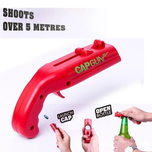 Bottle Openner Firing Cap Gun Creativo Flying Cap Launcher Bottle Beer Opener Gun Forma Bar Tool Bere Apertura Sparatutto VT0073