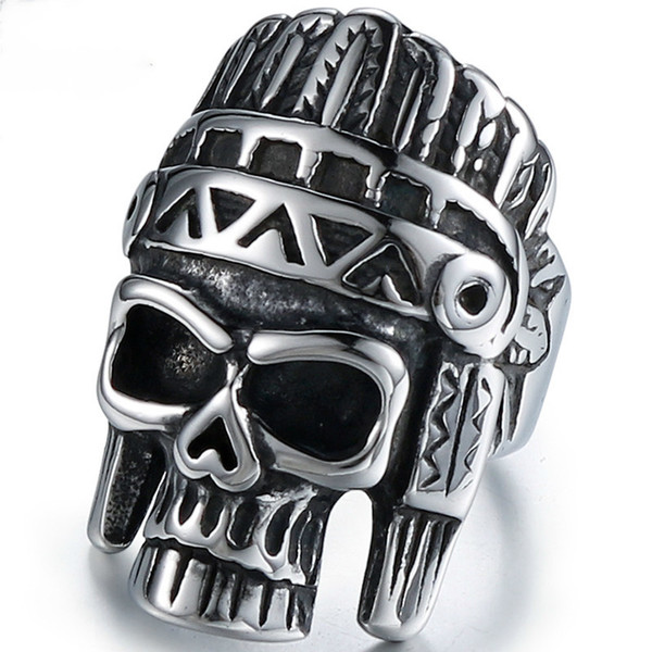 jingyang stainless steel Indian for men biker stainless steel skull rings simple high quality vintage ring jewelry accessories