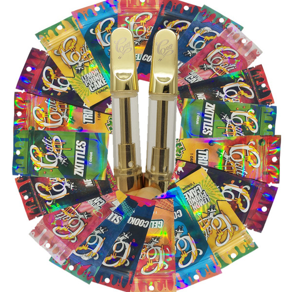 Cali Fiş Arabaları Vape Kartuşları Hologram Ambalaj 0.8ml / 1.0ml 510 Seramik Bobin Altın Metal Ucu Lezzet Kalın Yağ E-Sigaralar Vape