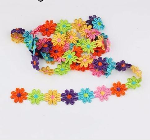 2Y candy color Beautiful sun flower cotton Lace Fabric Sewing Applique satin ribbon, DIY Craft lace ribbon tape sewing supplies