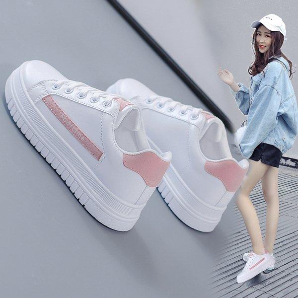 2019 New Fashion Wild Scarpe donna Autunno e Inverno Nuove scarpe bianche traspiranti Piattaforma dalla suola spessa